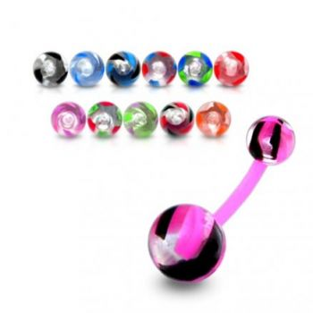 Buy UV Navel Ring Cuved Bar With Colorful UV Balls online