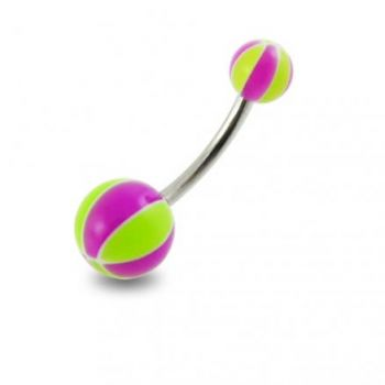 Buy Surgical Steel Navel Banana Ring With Colorful UV Balls online