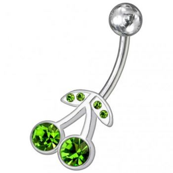 Buy Fancy Red Stone Jeweled Silver Non-Moving SS Bar Navel Belly Ring online