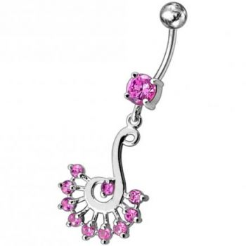 Buy Silver Dream Catcher with Jeweled Feathers Fancy Navel Banana Bar Ring online