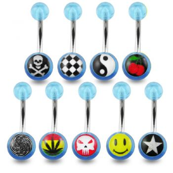 Buy 316L Surgical Steel Navel Ring With Floral Printed UV Balls online