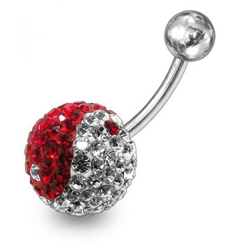 Buy Red And White Mix Crystal stone SS Bar Navel Ring online