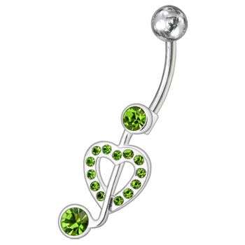 Buy Fancy Jeweled Heart Non-Moving Navel Belly Ring Body Jewelry PBN0939 online