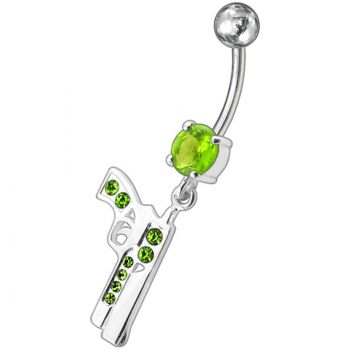 Buy Dangling Silver Fancy GUN Jeweled Curved Bar Navel Ring online
