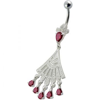 Buy Fancy Chendelier White Jeweled Dangling Navel Curved Ring online