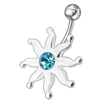 Buy Fancy Black Jeweled Star Fish Non-Moving SS Bar Navel Belly Ring online