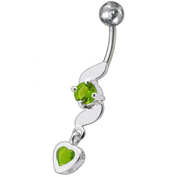 Buy Fancy Beautiful Pink Heart Stone Jeweled Dangling Belly Navel Ring online
