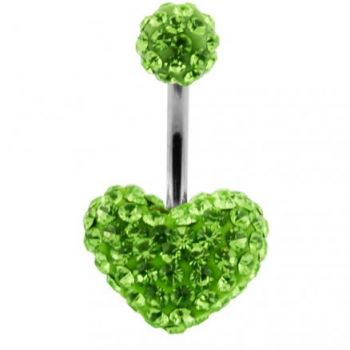 Buy Green Crystal stone Heart With Top Ball SS Banana Curved Navel Belly Ring online