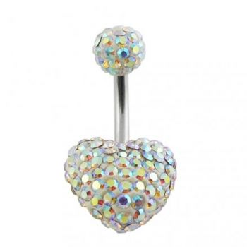 Buy Fancy Crystal stone Heart With Banana Bar Navel Ring online