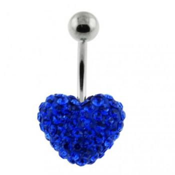 Buy Royal Blue Crystal stone Heart With Curved Bar navel Ring online