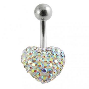 Buy Crystal Stone Heart Navel Belly Ring online