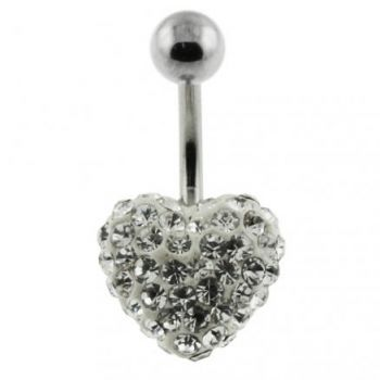 Buy White Crystal stone Heart With SS Banana Bar Navel Ring online