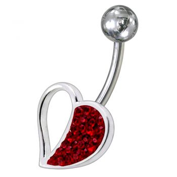 Buy Fancy Pink Jeweled Half Heart SS Banana Bar Navel Belly Ring online