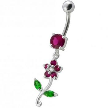 Buy Fancy White Flower With Green Jeweled Leafs  Dangling Navel Banana Bar Ring online