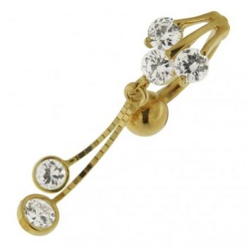 Buy Dangling Jeweled 14K Gold Navel Body Jewelry Ring online