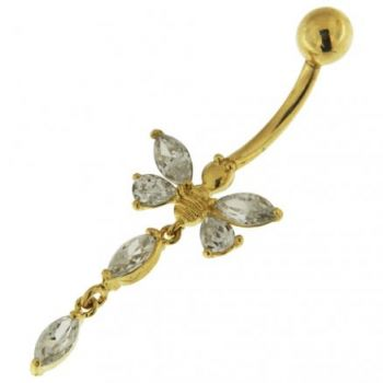 Buy 14K Solid Yellow Gold Jeweled Butterfly Dangling Navel Belly Button Ring online