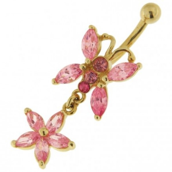 Buy 14K Gold  Jeweled Butterfly Dangling Navel Ring online