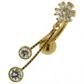 Buy Flower Jeweled Dangling 14K Gold Body Jewelry Navel ring online