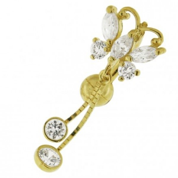 Buy Small Jeweled Dangling Butterfly14K Gold Navel Ring online
