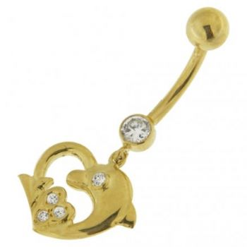 Buy Dolphin Heart Shape Jeweled Dangling 14K Gold Navel Ring online