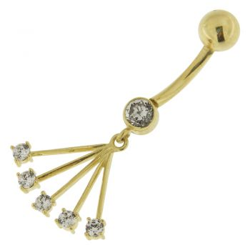Buy CZ Jeweled Hollow 14K Gold Navel Ring online