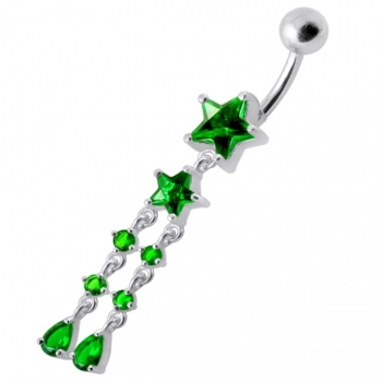 Buy Fancy CZ Jeweled Multi Moving Star Dangling Navel Body Jewelry Ring online