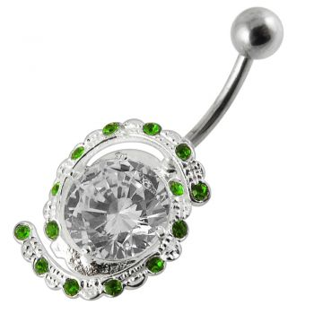 Buy 14G 925 Silver Fancy Jeweled Non-Moving Titanium Bar Navel Ring online