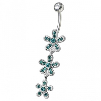 Buy Fancy Green Jeweled Silver Dangling Navel Belly Ring online