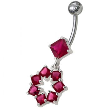 Buy Fancy CZ Green Jeweled Dangling SS Banana Navel Belly Ring Body Jewelry online