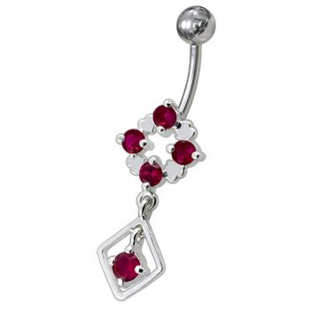 Buy Silver Fancy Jeweled Dangling Belly Navel Ring Body Jewelry online