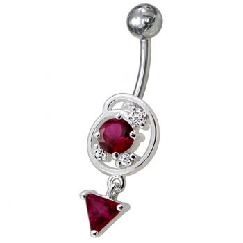 Buy Silver Fancy Green Jeweled Dangling Belly Navel Ring online