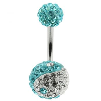 Buy Multi Crystal Stone Balls With SS Bar Navel Belly Ring FDBLY127 online