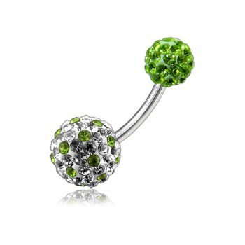 Buy White And Green Crystal Stone Studded Balls With SS Bar Banana Navel Ring online