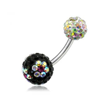 Buy Multi Color Crystal Stone Flower With SS Bar Banana Navel Ring online