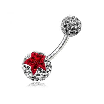 Buy Red Crystal Stone Star With SS Bar Navel Ring Body Jewelry online