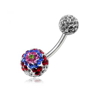 Buy Multi Color Crystal Stone Studded Balls With Navel Banana Belly Ring online