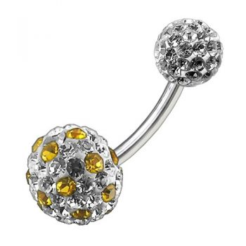 Buy Multi Color Crystal Stone Balls With SS Bar Navel Ring FDBLY099 online
