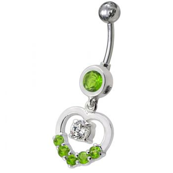 Buy Fancy Jeweled Heart Silver Dangling With SS Curved Navel Body Jewelry Ring online