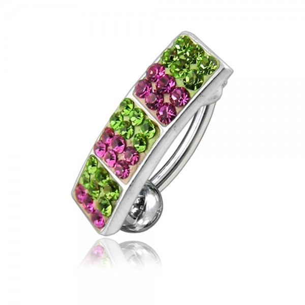 Buy Multi Color Crystal Stone Reverse Bar Navel Ring FDBLY029 online
