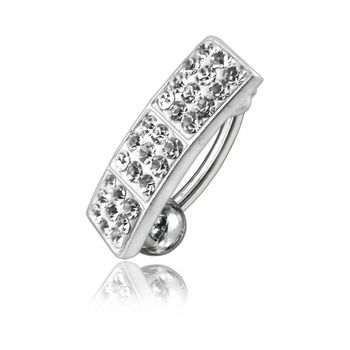 Buy White Crystal Stone Silver Reverse Banana Bar Belly Navel Ring Body Jewelry online