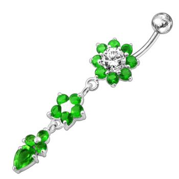 Buy Jeweled Dangling Silver Flower With SS Curved Bar Navel Ring online