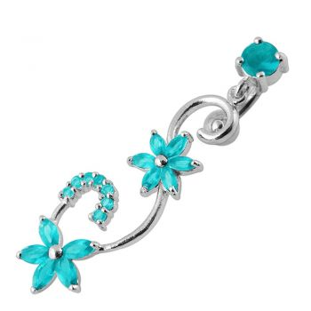 Buy Fancy Multi Star Dangling Jeweled Curved Bar Navel Ring online