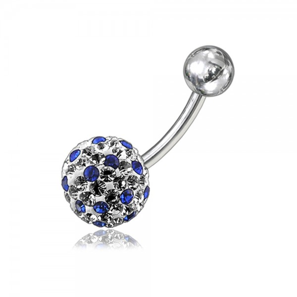 Buy 316L Surgical Steel Mix Crystal Stone SS Bar Navel Belly Button Ring online