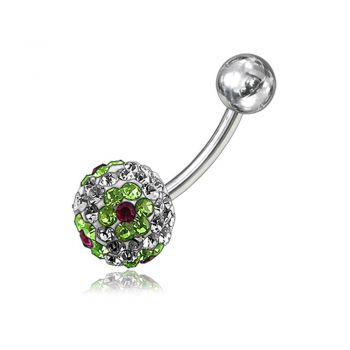 Buy Green Crystal Stone Flower With SS Bar Banana Navel  Ring FDBLY062 online