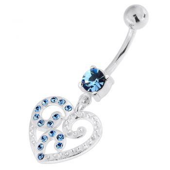 Buy Jeweled Floral Heart 925 Sterling Silver Navel Belly Piercing online