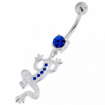 Buy Jeweled Lizard with Frog Legs 925 Sterling Silver Navel Belly Piercing online