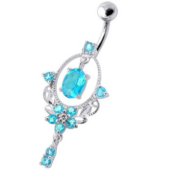 Buy Sterling Silver Dangling Jeweled SS Navel Body Jewelry Ring online