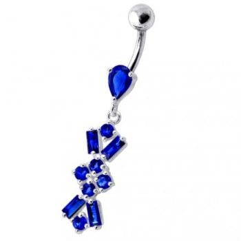 Buy Navel Ring With Dangling Purple Jeweled Flower Body Jewelry online
