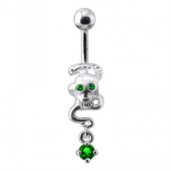 Buy Silver Skull Jeweled Dangling Navel Body Jewelry Belly Ring online