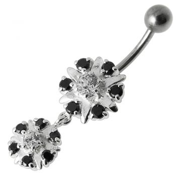Buy Two Round Jeweled Dangling Navel Belly Ring online